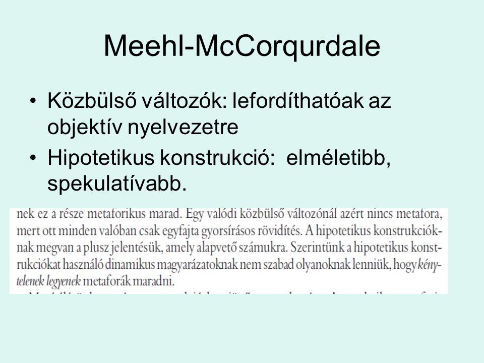 Meehl-McCorqurdale Közbülső változók: lefordíthatóak az objektív nyelvezetre.
