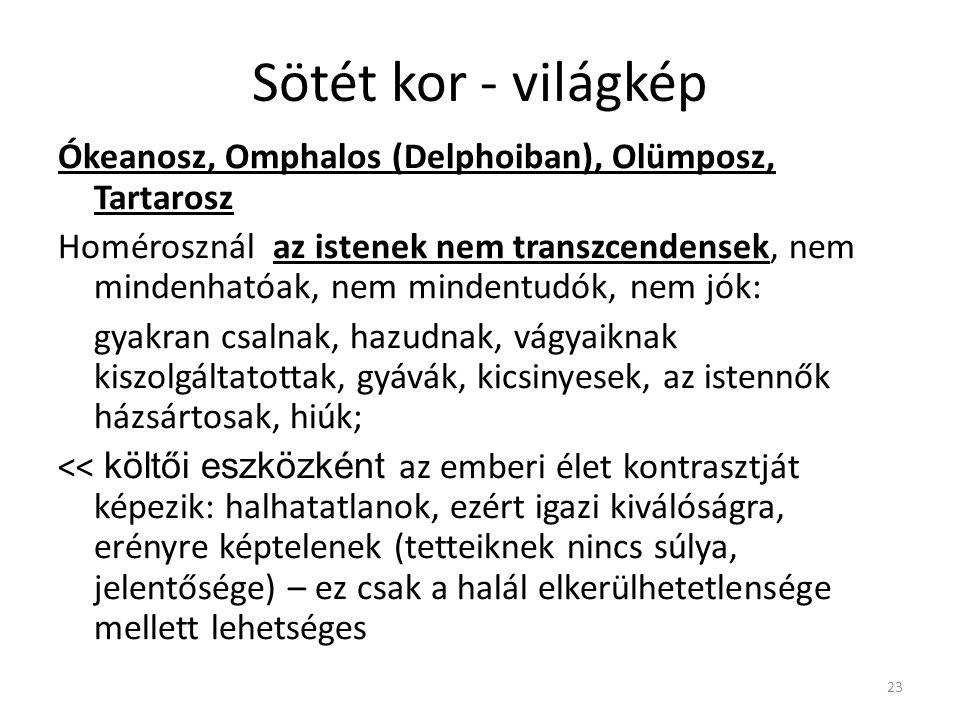 Sötét kor - világkép Ókeanosz, Omphalos (Delphoiban), Olümposz, Tartarosz.
