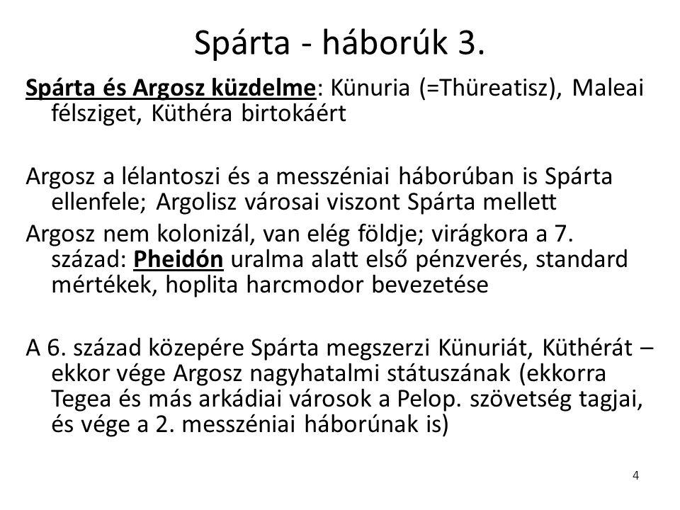Spárta - háborúk 3. Spárta és Argosz küzdelme: Künuria (=Thüreatisz), Maleai félsziget, Küthéra birtokáért.