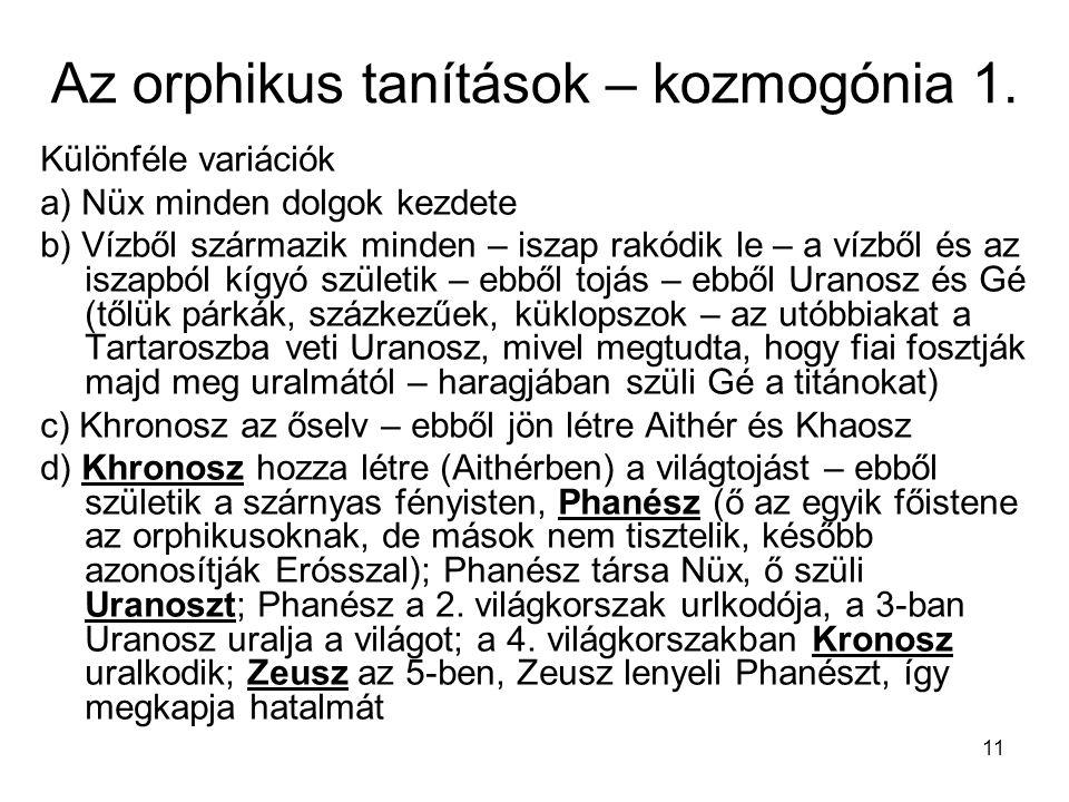 Az orphikus tanítások – kozmogónia 1.