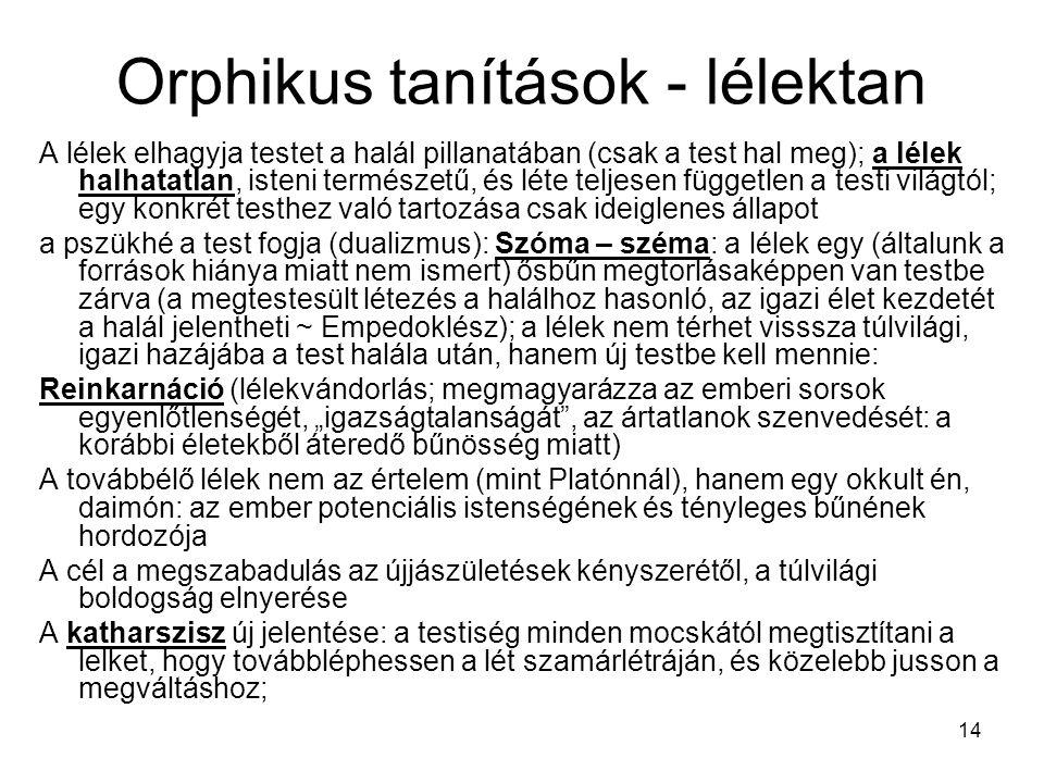 Orphikus tanítások - lélektan