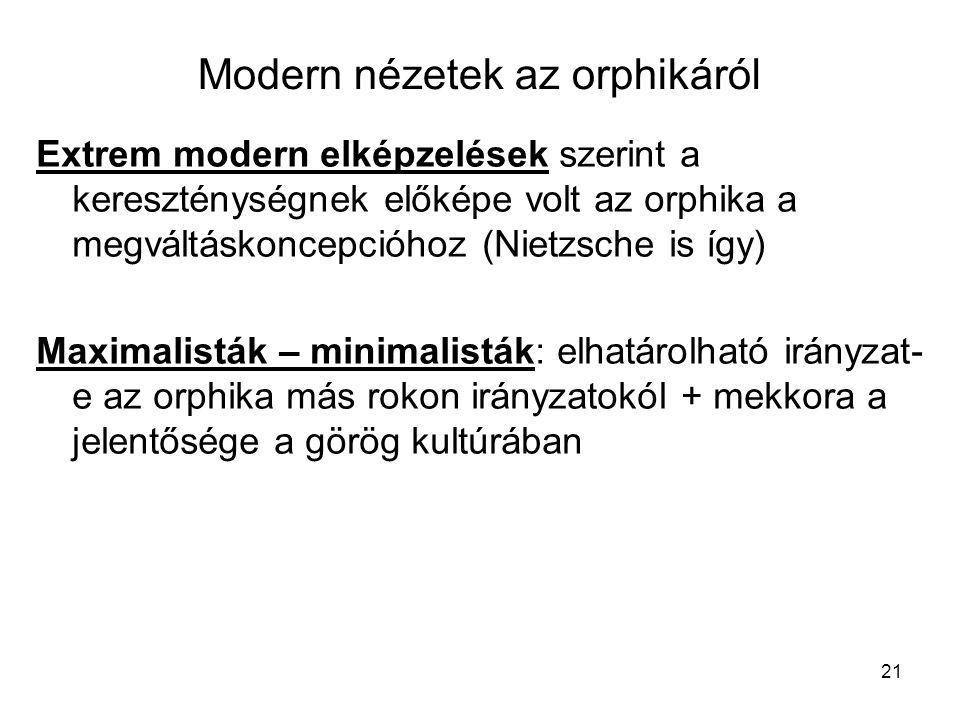 Modern nézetek az orphikáról