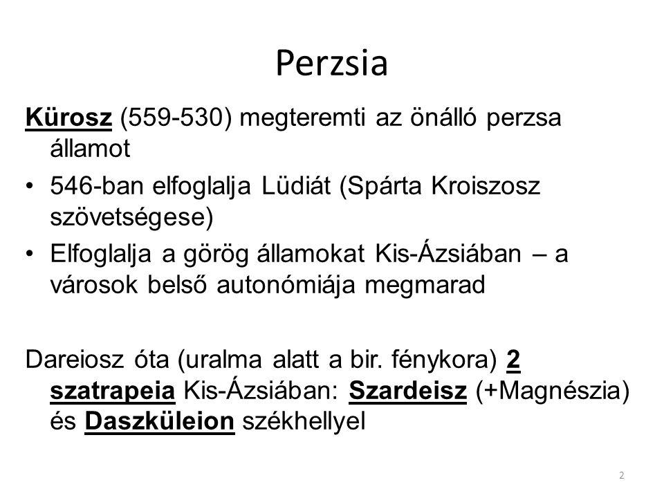 Perzsia Kürosz (559-530) megteremti az önálló perzsa államot