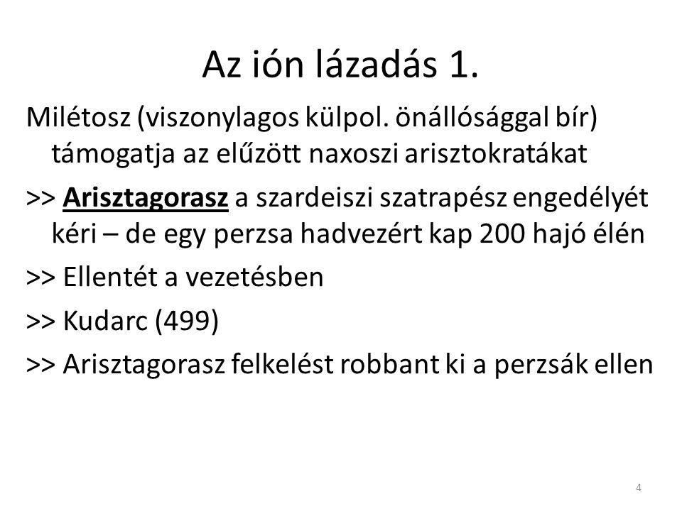 Az ión lázadás 1. Milétosz (viszonylagos külpol. önállósággal bír) támogatja az elűzött naxoszi arisztokratákat.