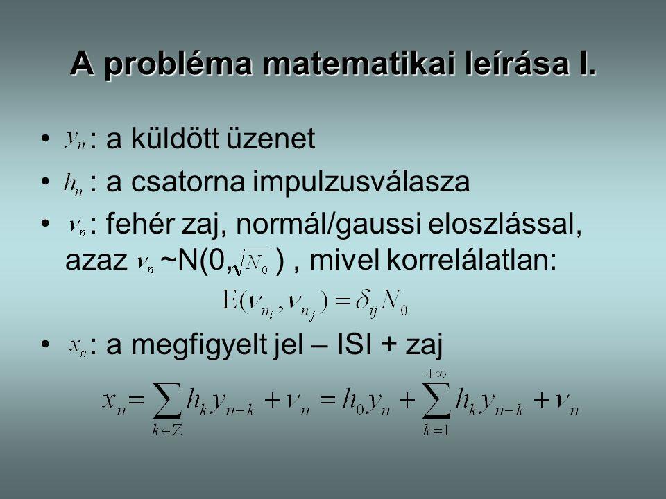 A probléma matematikai leírása I.