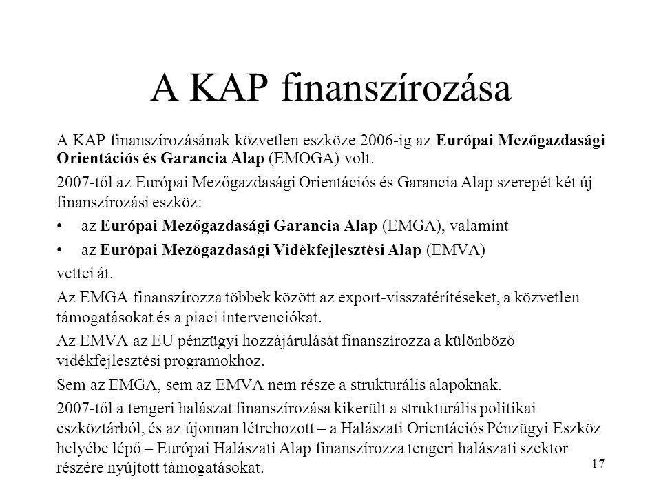 A KAP finanszírozása A KAP finanszírozásának közvetlen eszköze 2006-ig az Európai Mezőgazdasági Orientációs és Garancia Alap (EMOGA) volt.