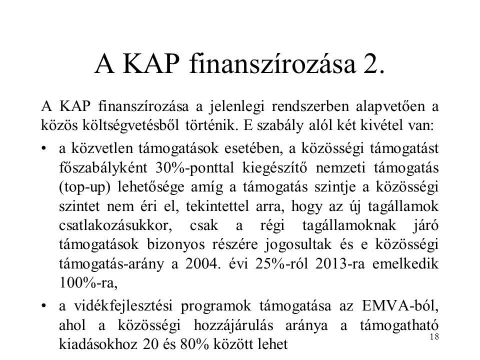 A KAP finanszírozása 2. A KAP finanszírozása a jelenlegi rendszerben alapvetően a közös költségvetésből történik. E szabály alól két kivétel van: