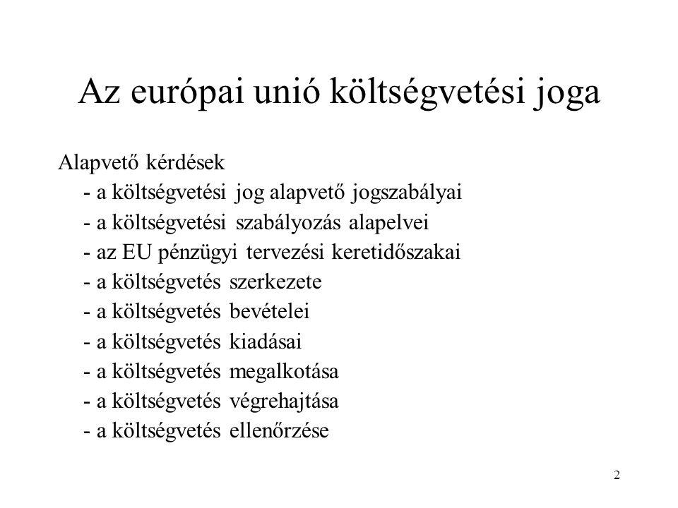 Az európai unió költségvetési joga
