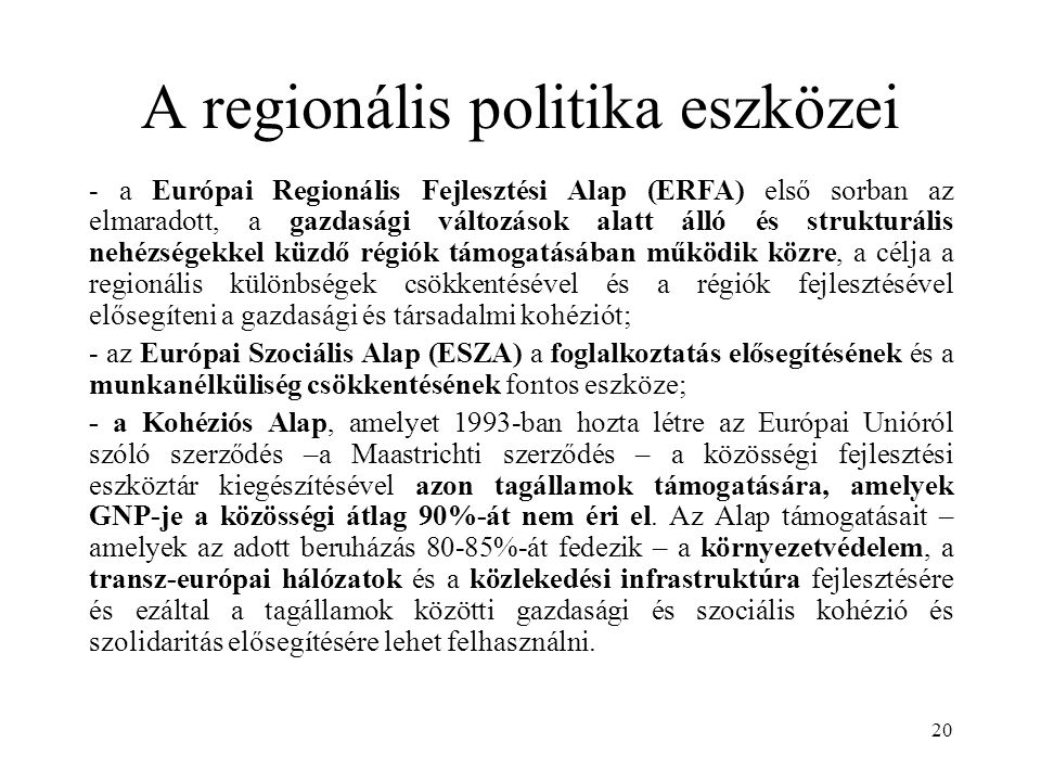 A regionális politika eszközei