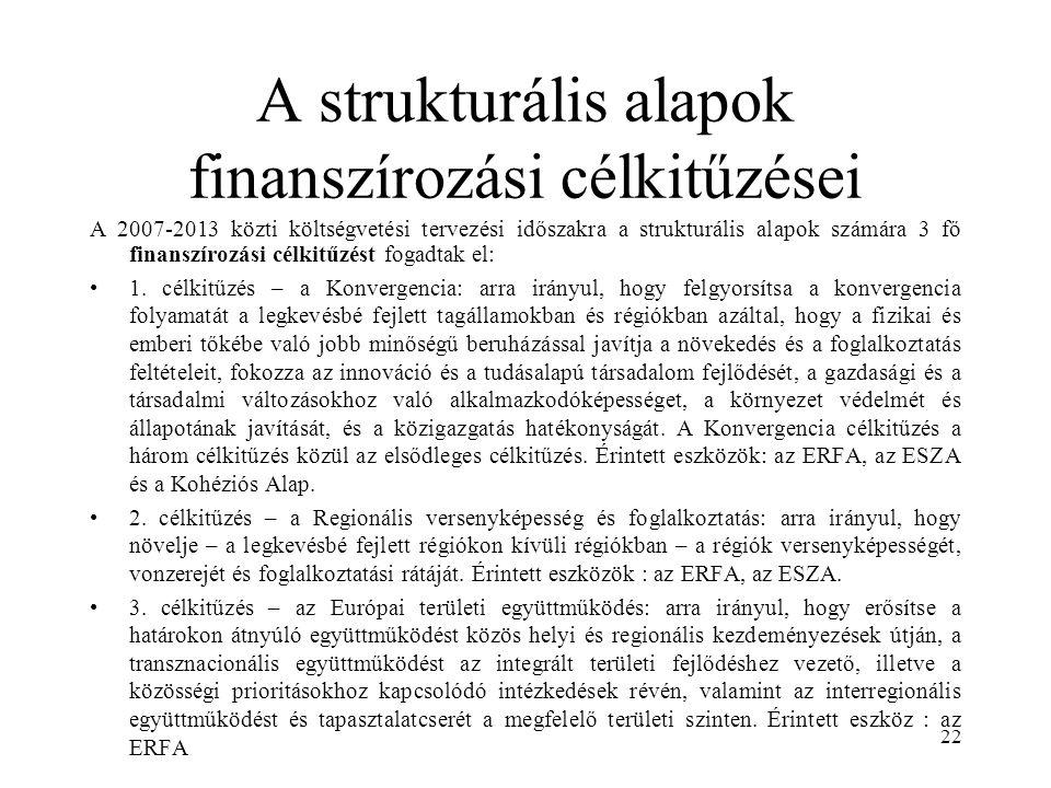 A strukturális alapok finanszírozási célkitűzései