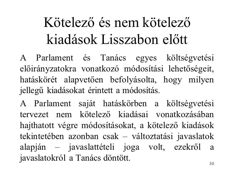 Kötelező és nem kötelező kiadások Lisszabon előtt