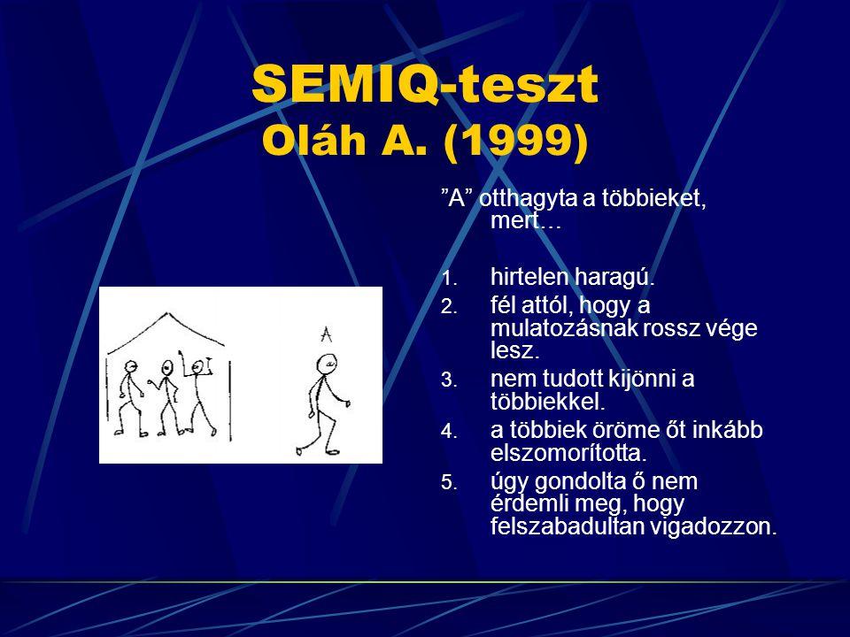 SEMIQ-teszt Oláh A. (1999) A otthagyta a többieket, mert…