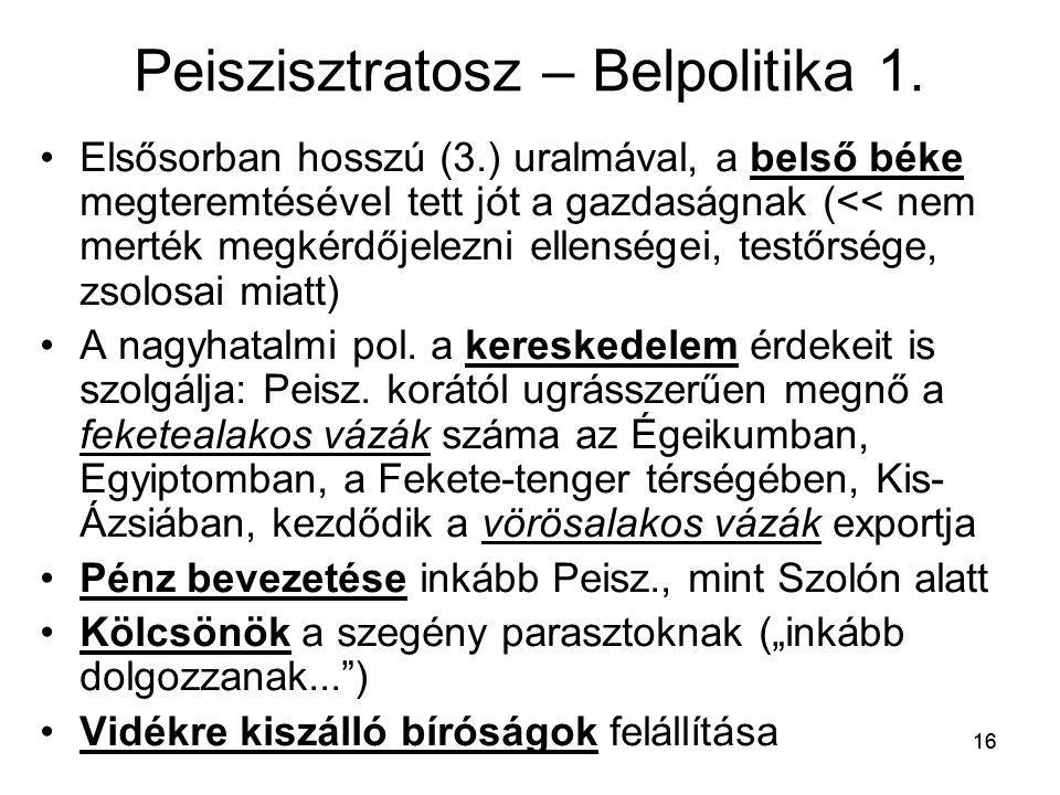 Peiszisztratosz – Belpolitika 1.