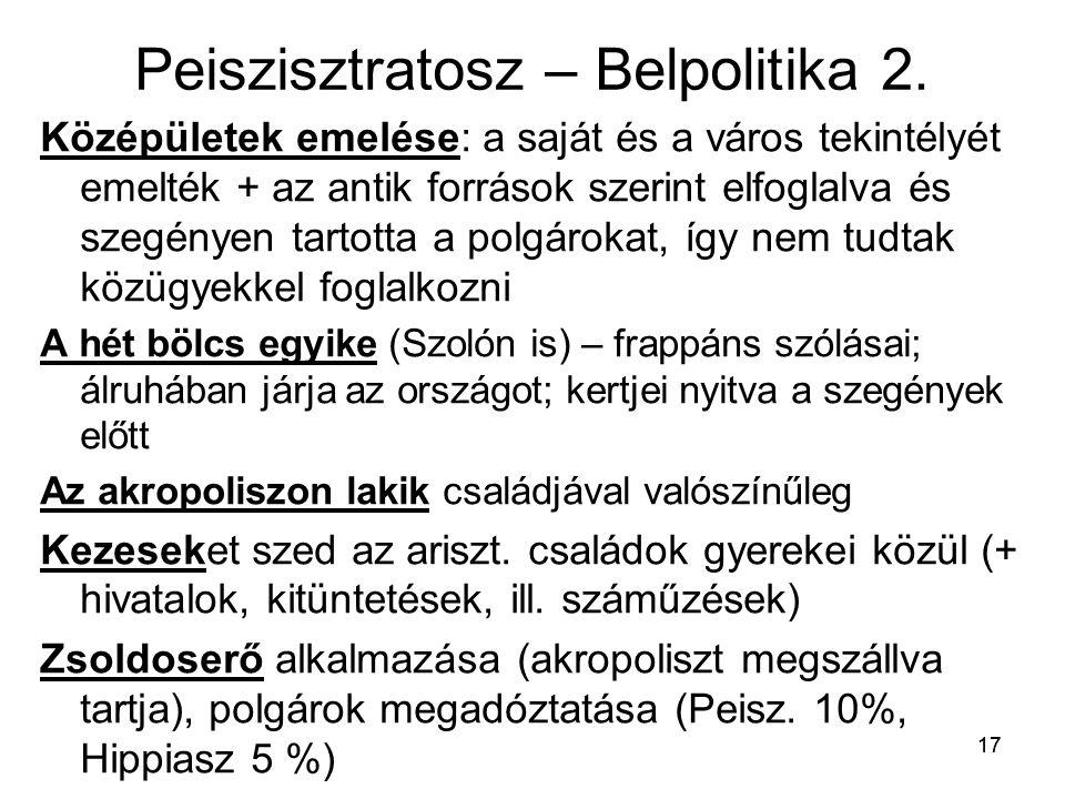 Peiszisztratosz – Belpolitika 2.