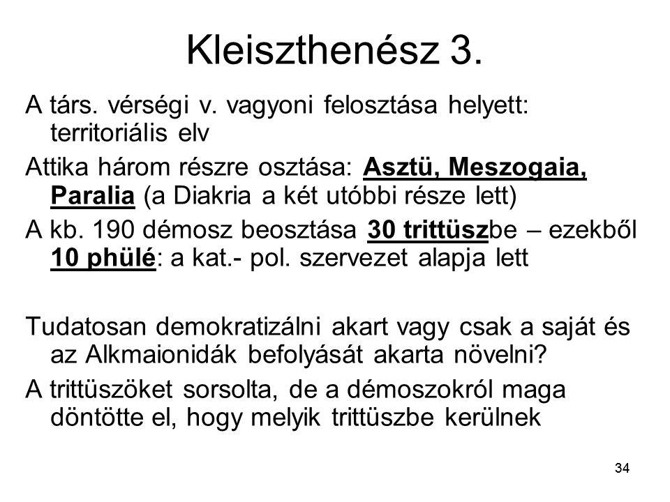 Kleiszthenész 3. A társ. vérségi v. vagyoni felosztása helyett: territoriális elv.
