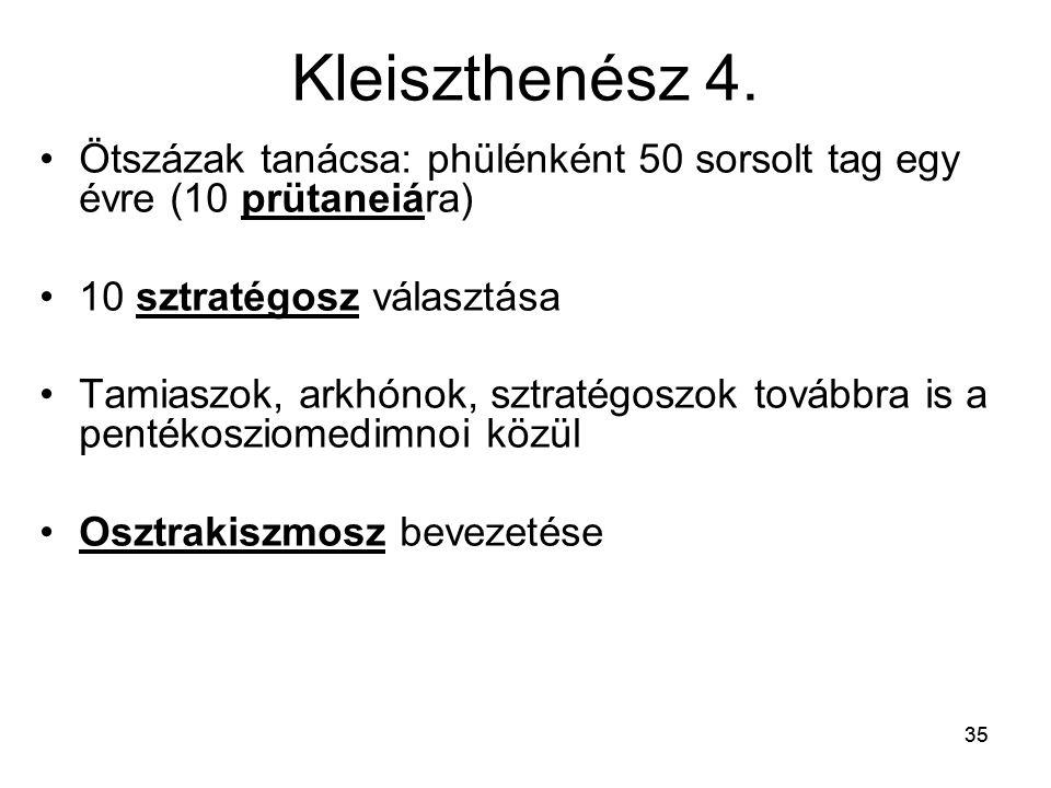 Kleiszthenész 4. Ötszázak tanácsa: phülénként 50 sorsolt tag egy évre (10 prütaneiára) 10 sztratégosz választása.