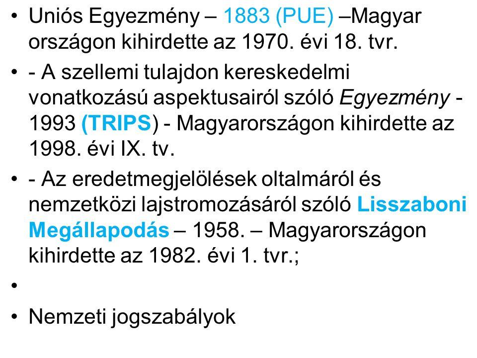 Uniós Egyezmény – 1883 (PUE) –Magyar országon kihirdette az 1970