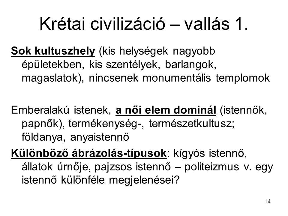 Krétai civilizáció – vallás 1.