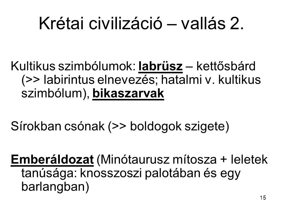 Krétai civilizáció – vallás 2.