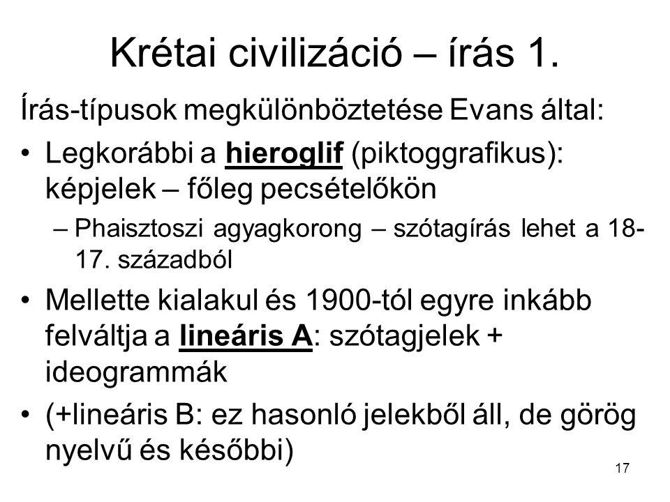 Krétai civilizáció – írás 1.