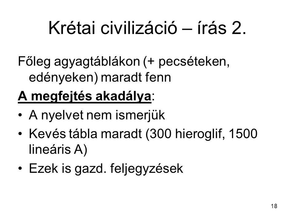 Krétai civilizáció – írás 2.