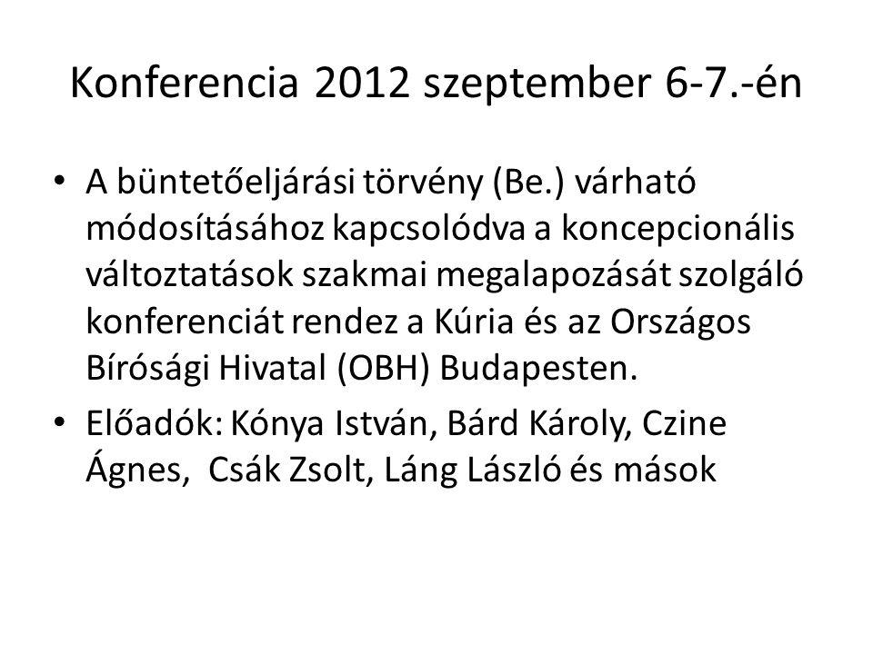 Konferencia 2012 szeptember 6-7.-én