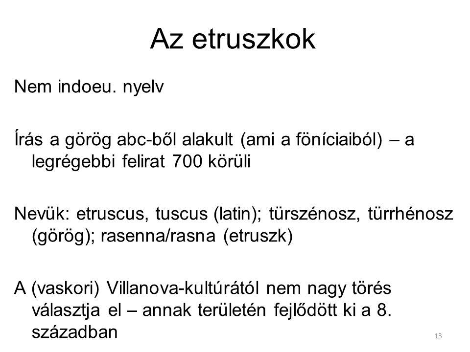 Az etruszkok Nem indoeu. nyelv