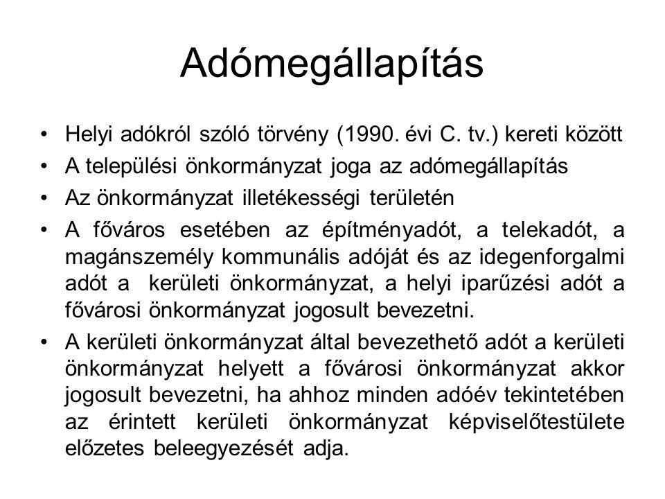 Adómegállapítás Helyi adókról szóló törvény (1990. évi C. tv.) kereti között. A települési önkormányzat joga az adómegállapítás.
