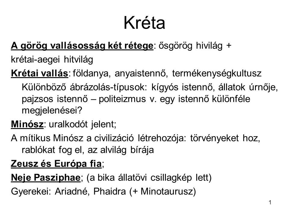 Kréta A görög vallásosság két rétege: ősgörög hivilág +
