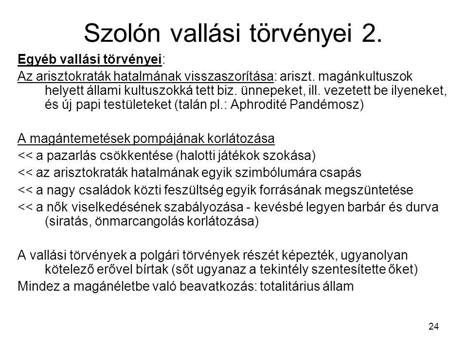 Szolón vallási törvényei 2.