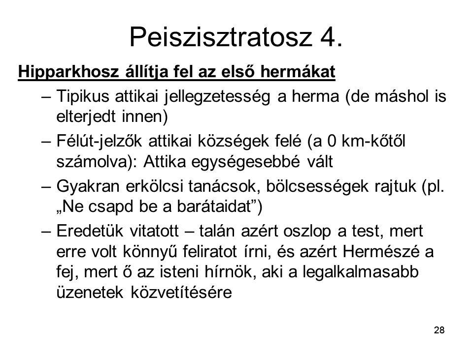 Peiszisztratosz 4. Hipparkhosz állítja fel az első hermákat