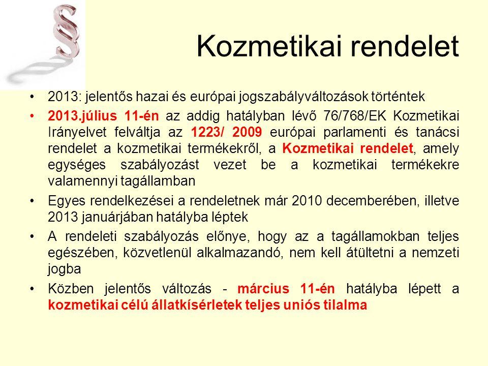 Kozmetikai rendelet 2013: jelentős hazai és európai jogszabályváltozások történtek.