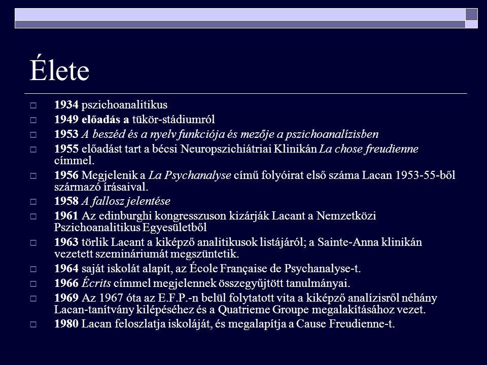 Élete 1934 pszichoanalitikus 1949 előadás a tükör-stádiumról