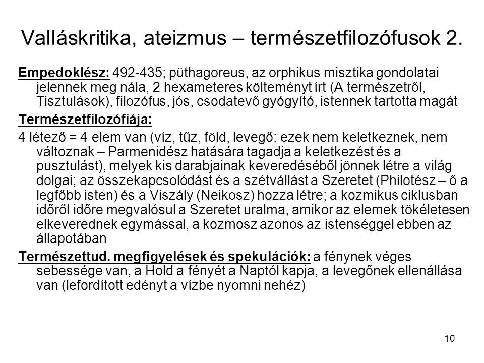 Valláskritika, ateizmus – természetfilozófusok 2.