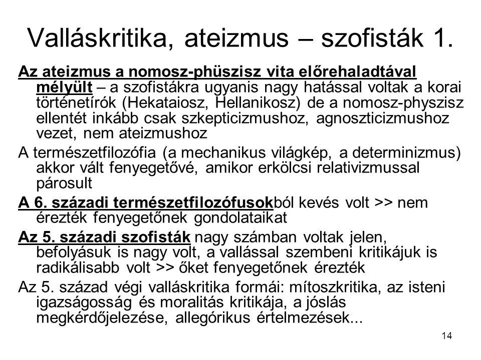 Valláskritika, ateizmus – szofisták 1.