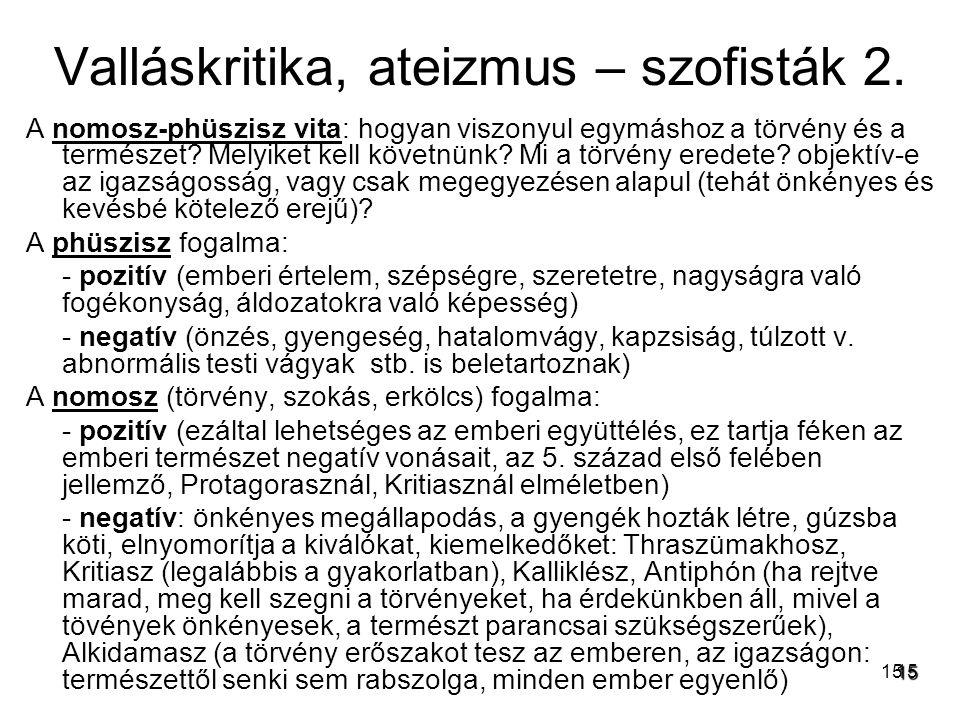 Valláskritika, ateizmus – szofisták 2.