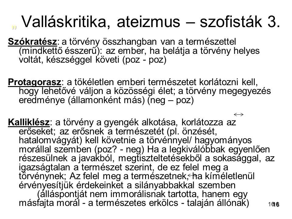 """"""" Valláskritika, ateizmus – szofisták 3."""