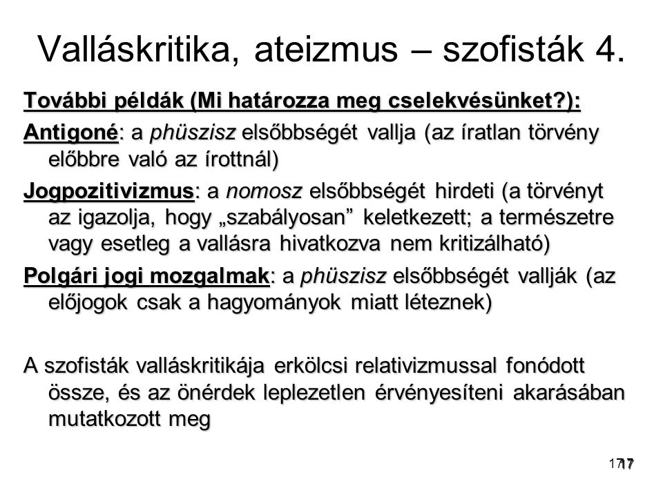 Valláskritika, ateizmus – szofisták 4.