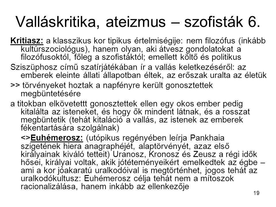 Valláskritika, ateizmus – szofisták 6.