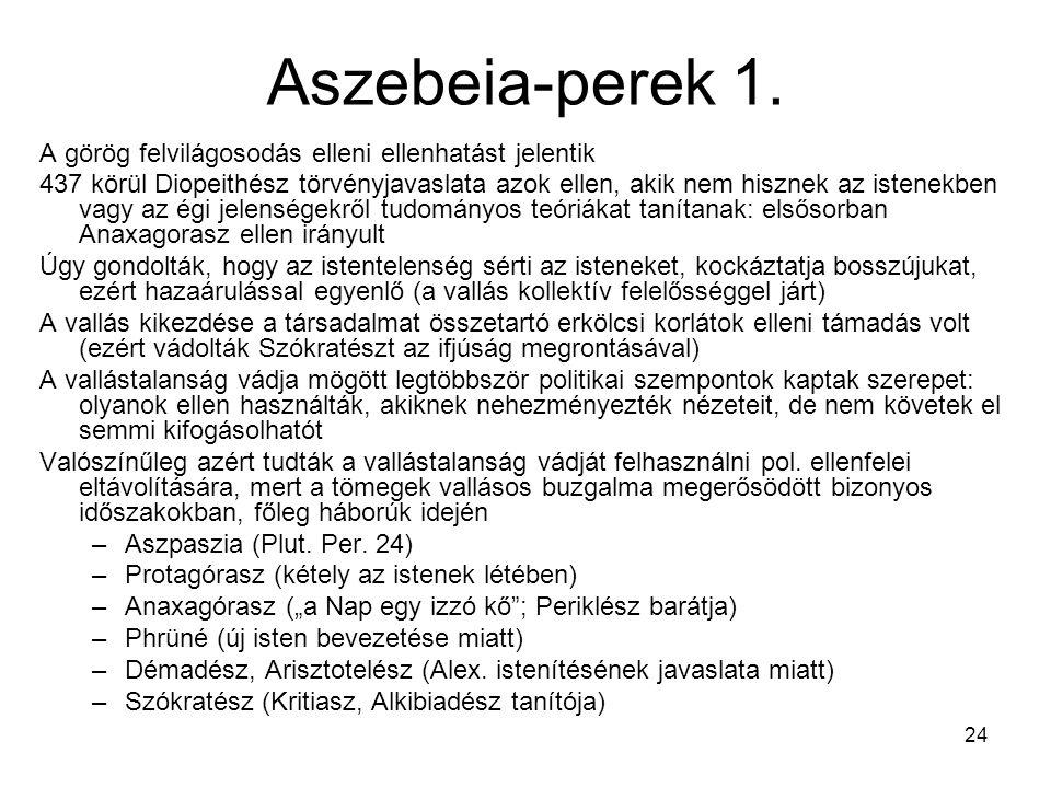 Aszebeia-perek 1. A görög felvilágosodás elleni ellenhatást jelentik