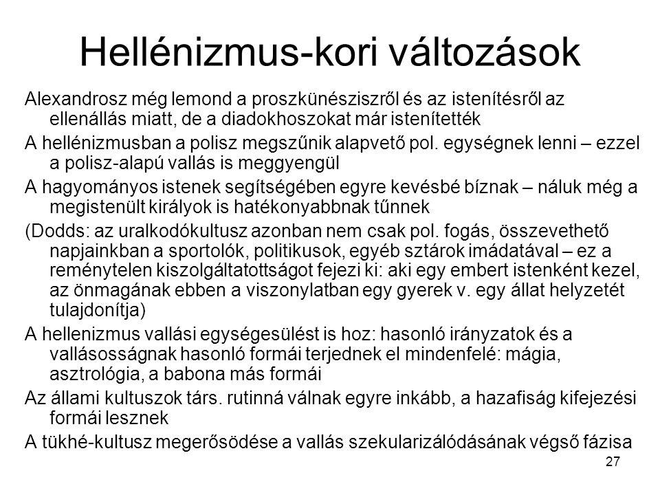 Hellénizmus-kori változások