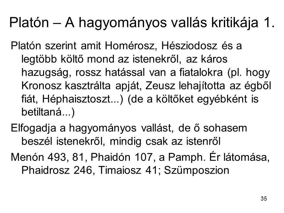 Platón – A hagyományos vallás kritikája 1.