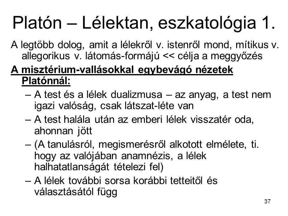 Platón – Lélektan, eszkatológia 1.