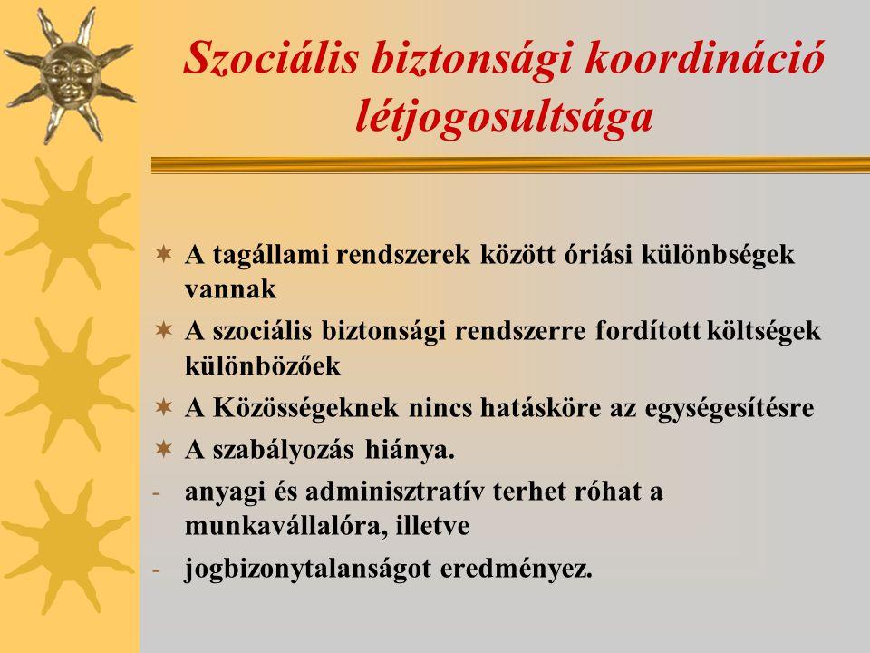 Szociális biztonsági koordináció létjogosultsága