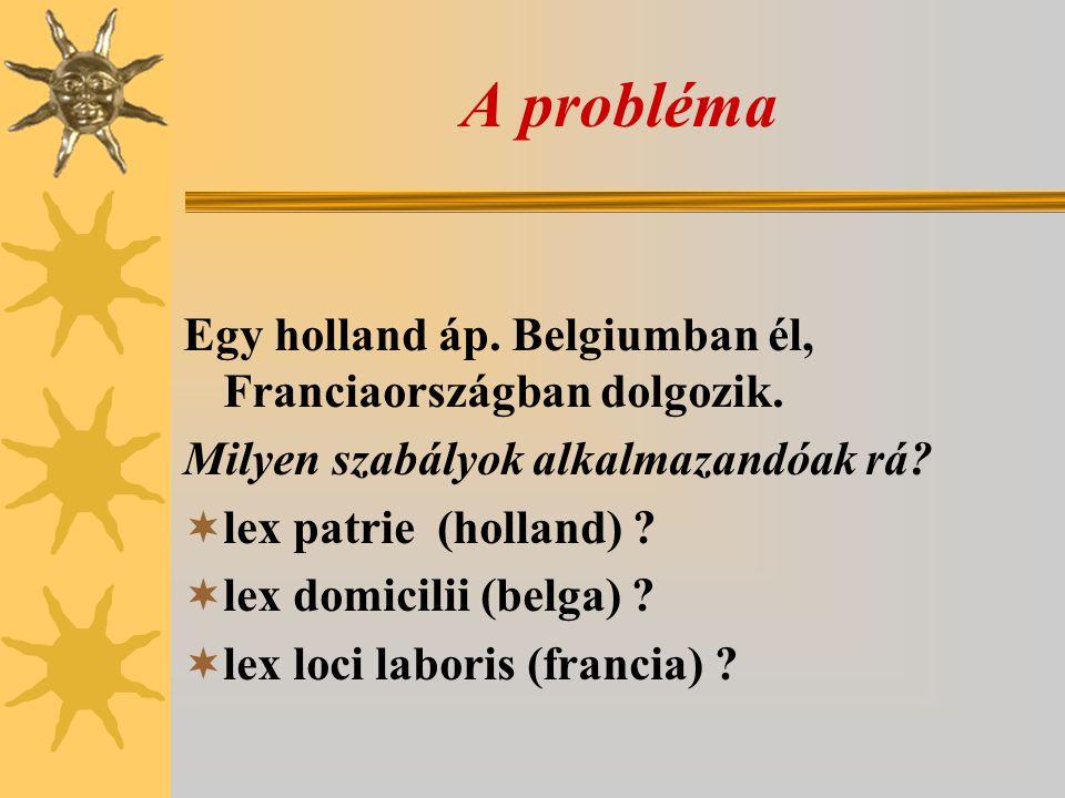A probléma Egy holland áp. Belgiumban él, Franciaországban dolgozik.