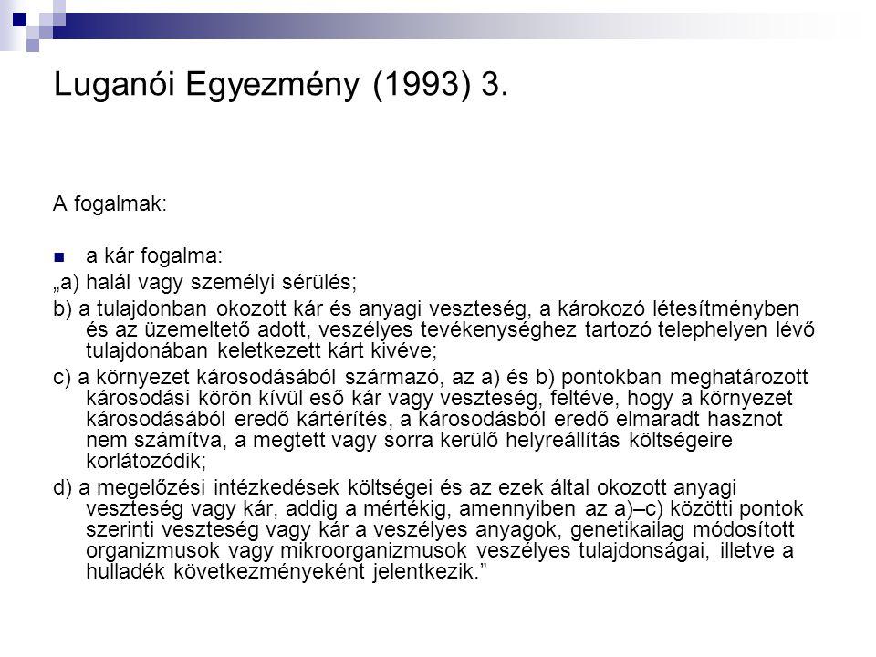 Luganói Egyezmény (1993) 3. A fogalmak: a kár fogalma: