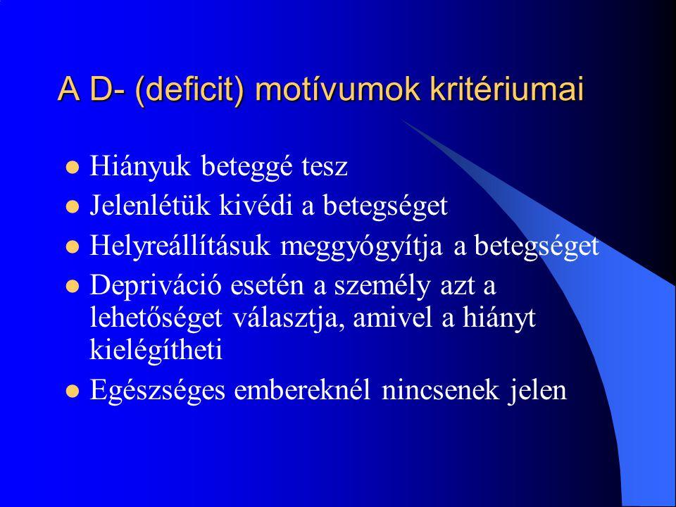 A D- (deficit) motívumok kritériumai
