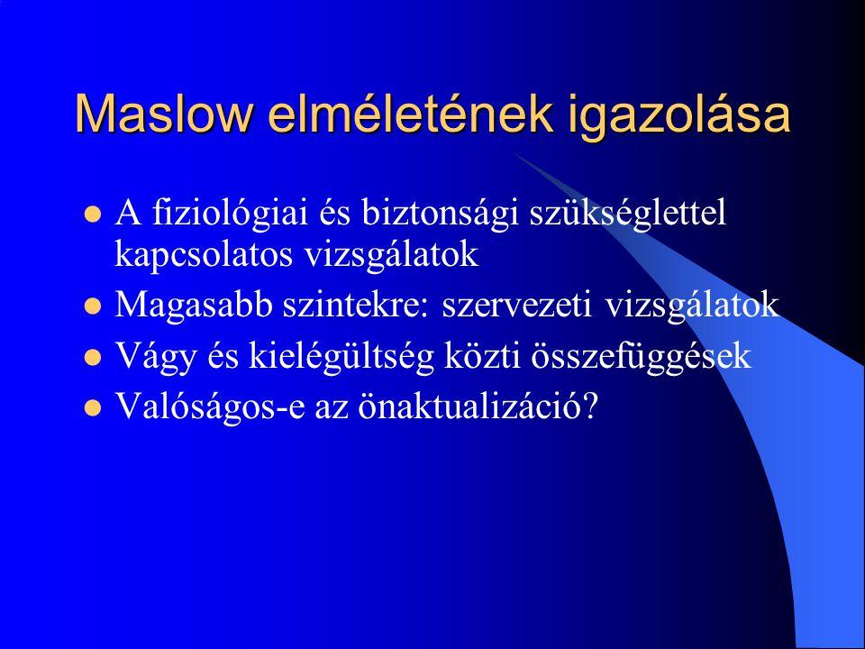 Maslow elméletének igazolása