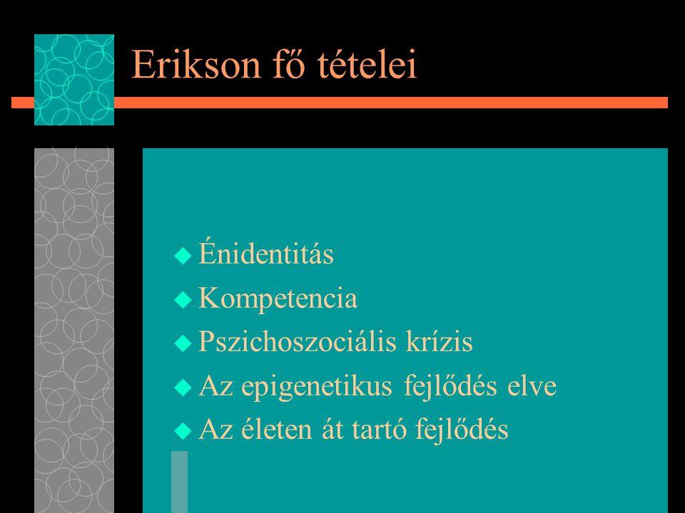 Erikson fő tételei Énidentitás Kompetencia Pszichoszociális krízis