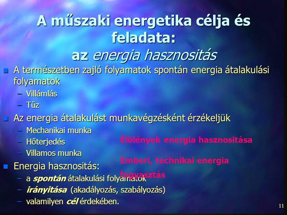 A műszaki energetika célja és feladata: az energia hasznositás